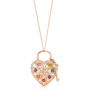 Luxury von birkin gift ideas for the woman of your dreams tiffany filigree heart pendant with key in 14kt rose gold with round brilliant diamonds 276 ct and colored aloadofball Choice Image