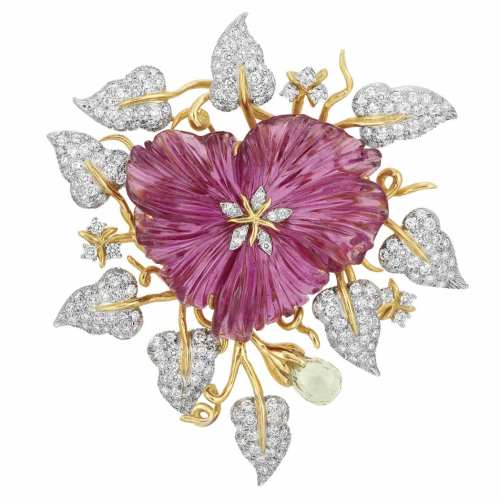 Platinum-Gold-Carved-Pink-Tourmaline-and-Diamond-Flower-Clip-Valentin-Magro
